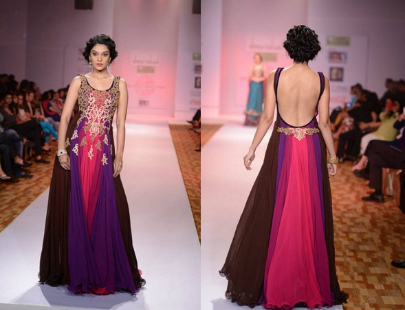 Backless Thread Work Gown