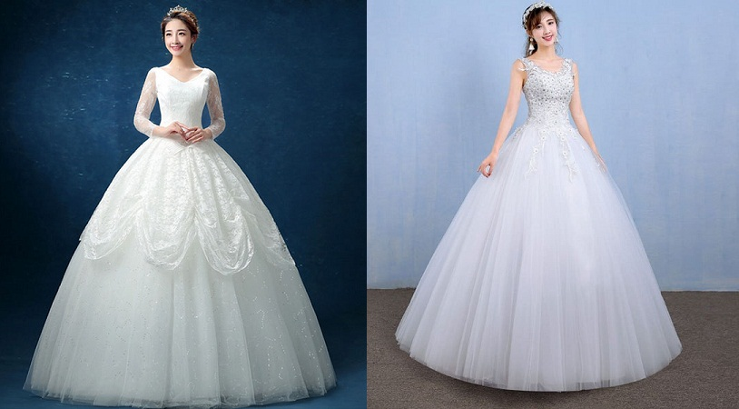 Lace Floor Length Ball Gown