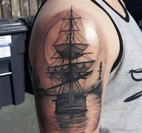 Sea and Ship Tattoo