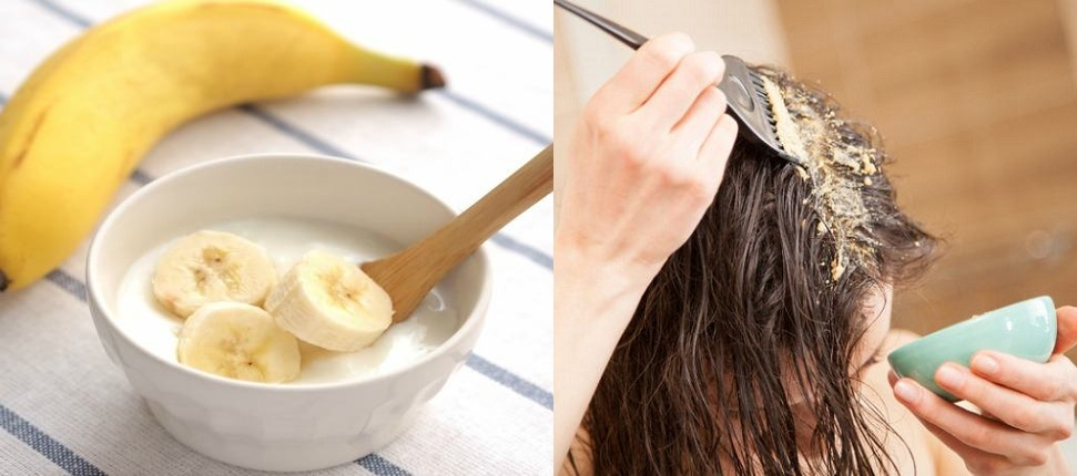 Applying  Banana Mask On Scalp