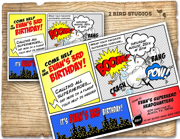 Comic con theme birthday invite
