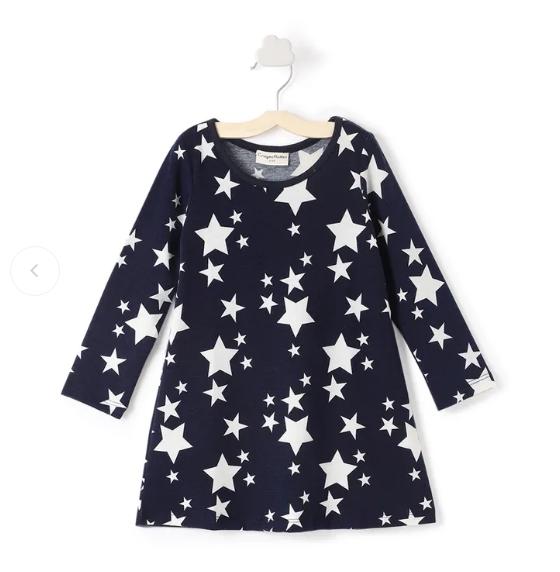 Stars Print Full Sleeves Navy Dress